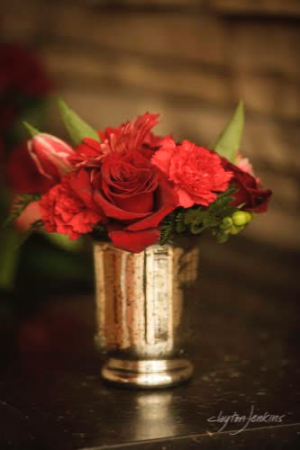 In Love With Red Centerpiece Vase Arrangement