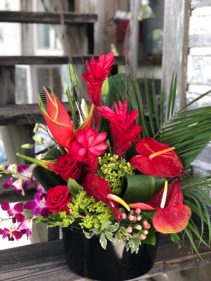 In Love with Tropical Flowers & Roses Container Full of Tropical Flowers, Orchids & Roses in Key West, FL | Petals & Vines