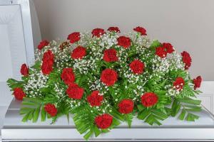 Carnation Melody Half-Couch Spray Casket Spray in Bowman, SC | Seven Flowers Florist