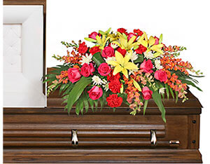 IN LOVING MEMORY Casket Spray in Solana Beach, CA | DEL MAR FLOWER CO