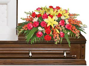 IN LOVING MEMORY Casket Spray in North Richland Hills, TX | 3D FLORAL DESIGN
