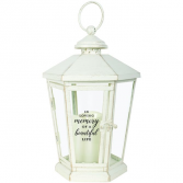 In Loving Memory of a Beautiful Life. Antique lighted White lantern