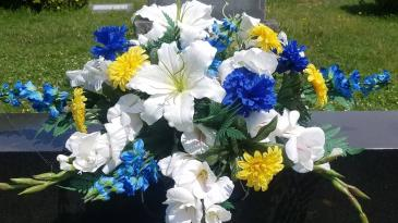 In Loving Memory Permanent Botanical Headstone Spray
