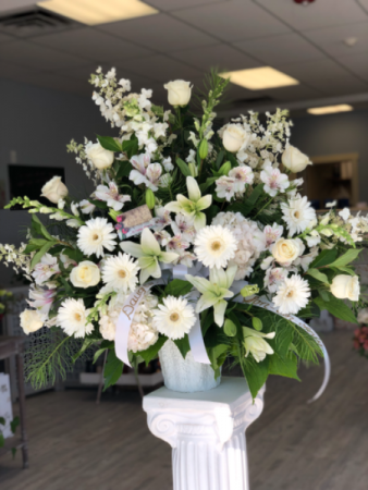 In Loving Memory White Funeral arrangement