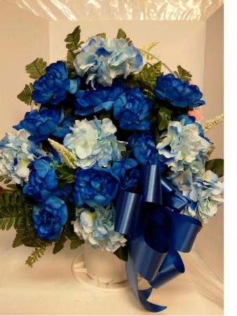 In Memory - Blue Silk Arrangement