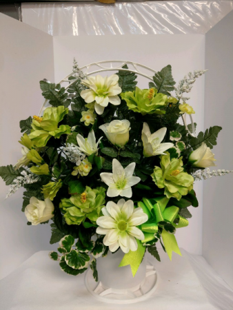 In Memory - Green Silk Arrangement