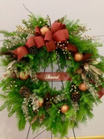 In Memory Greenery Wreath with accents Greenery varies with seasons