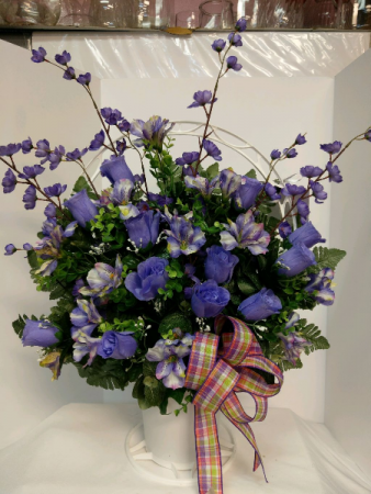 In Memory - Purple Silk Arrangement