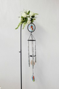 In Memory Stained Glass  Wind chime with fresh flowers