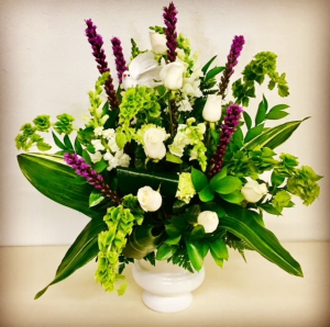 In The Sweet By and By Purple and White Urn Sympahy Floral Arrangement in Plainview, TX | Kan Del's Floral, Candles & Gifts