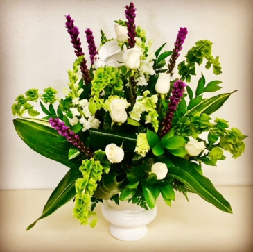 In The Sweet By and By Purple and White Urn Sympahy Floral Arrangement