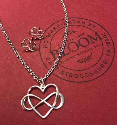 Infinity Heart Necklace and Earrings Set