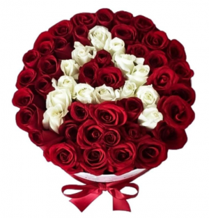 Initial rose box.   50 roses !!!! in Ozone Park, NY | Heavenly Florist