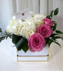 Initially Yours Floral Arrangement with Initial Necklace