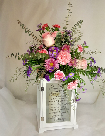 Inscribed Lantern W/ Battery Candle  Fresh Flowers Atop