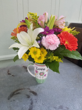 Inspirational Scripture Mug Vase Arrangement