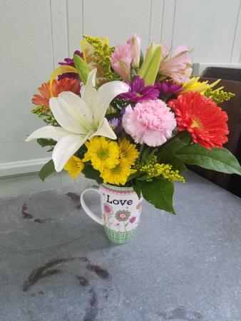 Inspirational Scripture Mug Vase Arrangement