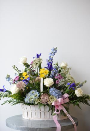 Iris filled Garden Basket  in La Grande, OR | FITZGERALD FLOWERS