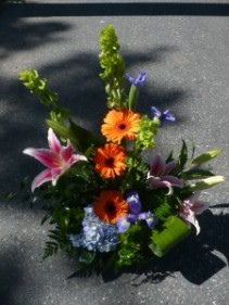 "Irish Garden of Bells of Ireland, Lilies, Gerbera Daisies, Iris, & Hydrangea Shown at $85.00 30"" tall"