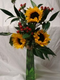 Special! 3 sunflowers in a tall vase with filler!