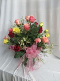 It Takes Two 2 Dozen Mixed Color Roses Arrangement
