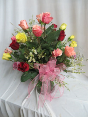 It Takes Two 24 Assorted Color Roses Arranged in a Vase in Farmville, VA | CARTERS FLOWER SHOP