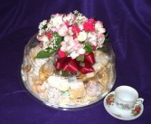 Italian Pastry/Cookie Tray w/Flowers Gift Basket
