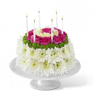 FLOWERS AND CANDLES BIRTHDAY CAKE LOCAL DELIVERY ONLY