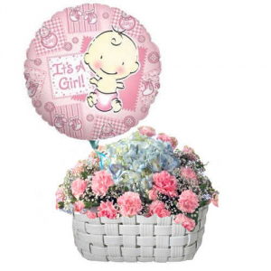 It's a Girl Flowers basket with balloon **we can make it as a BOY version too** in Vancouver, BC | ARIA FLORIST