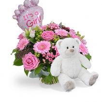 it's a girl fresh arrangement/teddy plus balloon