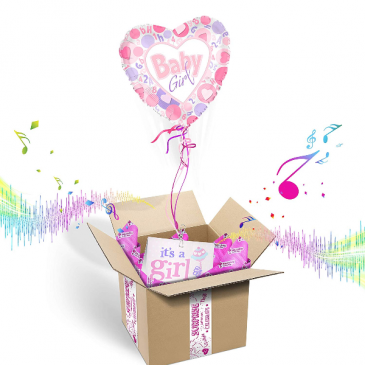 """It's A Girl"" INFLATED Helium Balloon Gift Package"