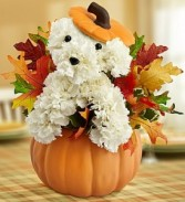 It's a Great Dog Gone Day in Autumn! In keepsake Ceramic Pumpkin with Lid