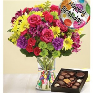 happy birthday flowers and chocolates