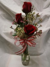 Just Because! 3 RED ROSES in a vase with a bow!
