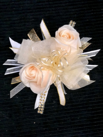 Ivory and Gold Corsage