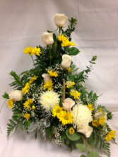 Ivory and Yellow Sympathy Arrangement basket sympathy