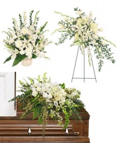 Ivory Funeral Package Pedestal Piece, Standing Spray and Casket Piece