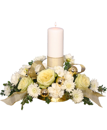 ivory light centerpiece floral arrangement in farmington me