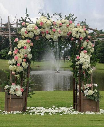 Ivory & Rose Altar Arrangement