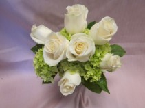 IVORY ROSES AND GREEN HYDRANGEA BRIDESMAID
