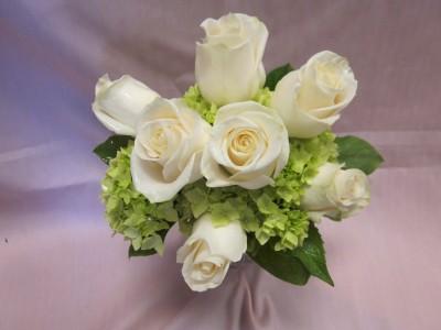 IVORY ROSES AND GREEN HYDRANGEA BRIDESMAID