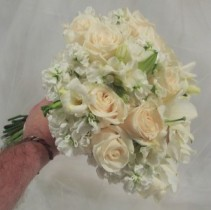 IVORY ROSES, STOCK, FREESIA, LILIES WEDDING BOUQUET