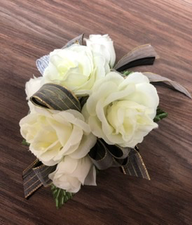 Ivory roses with black and gold ribbon Artificial Wrist coursage