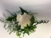 Ivy and white Boutonniere