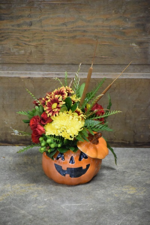 Jack-O-Lantern Ceramic Flower Arrangement