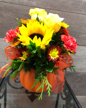 Jack O Lantern Surprise Fall arrangement