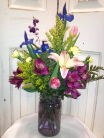 Jardin Colored Mason Jar Arrangement