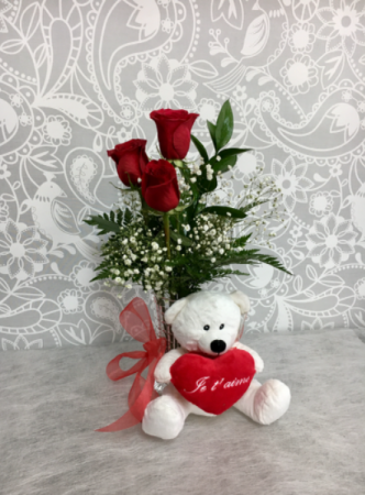 Je t'aime  3 Red roses with Teddy Bear