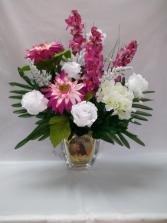 Jesus Crystal Vase Silk Arrangement