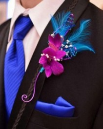 JEWEL TONE ORCHID Boutonniere